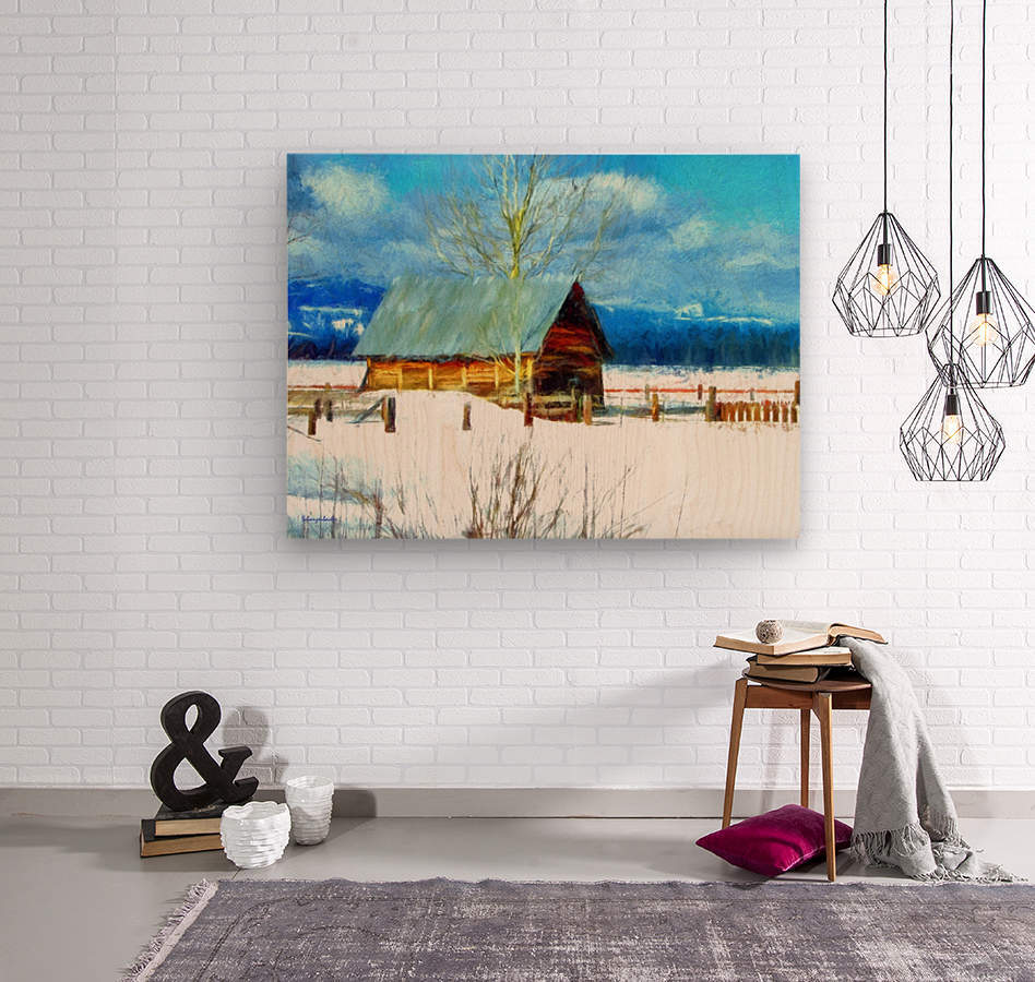 Winter Homestead Watercolor   Wood print