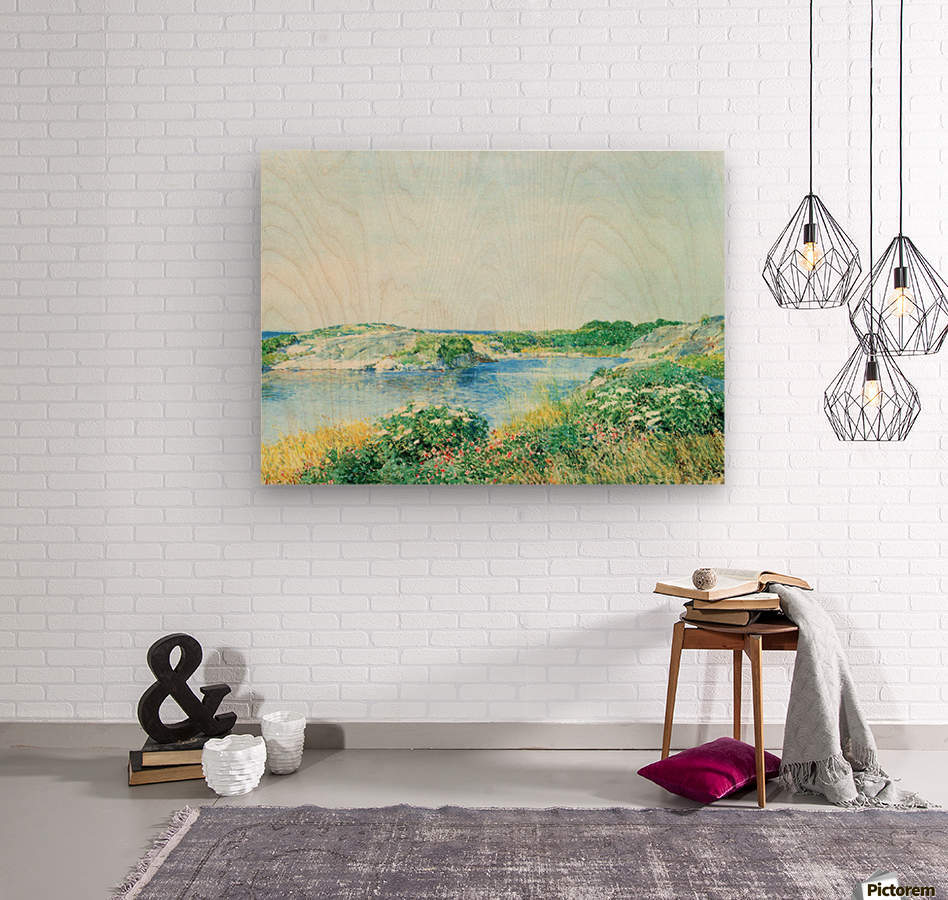 The small pond by Hassam  Wood print