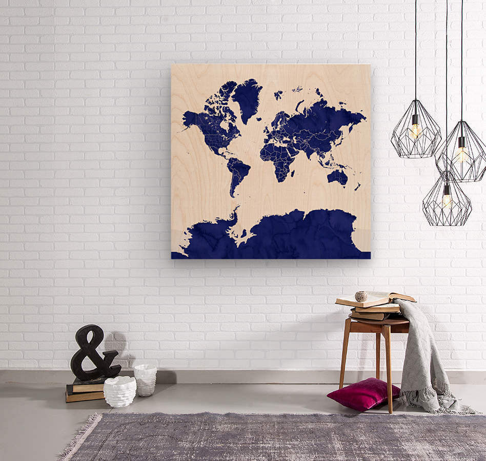 navy blue world map with outlined countries  Wood print