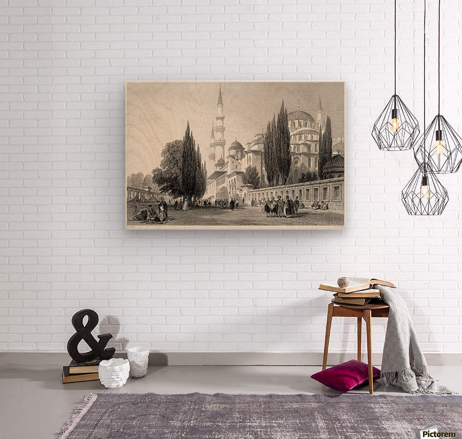 Outside mosque  Wood print