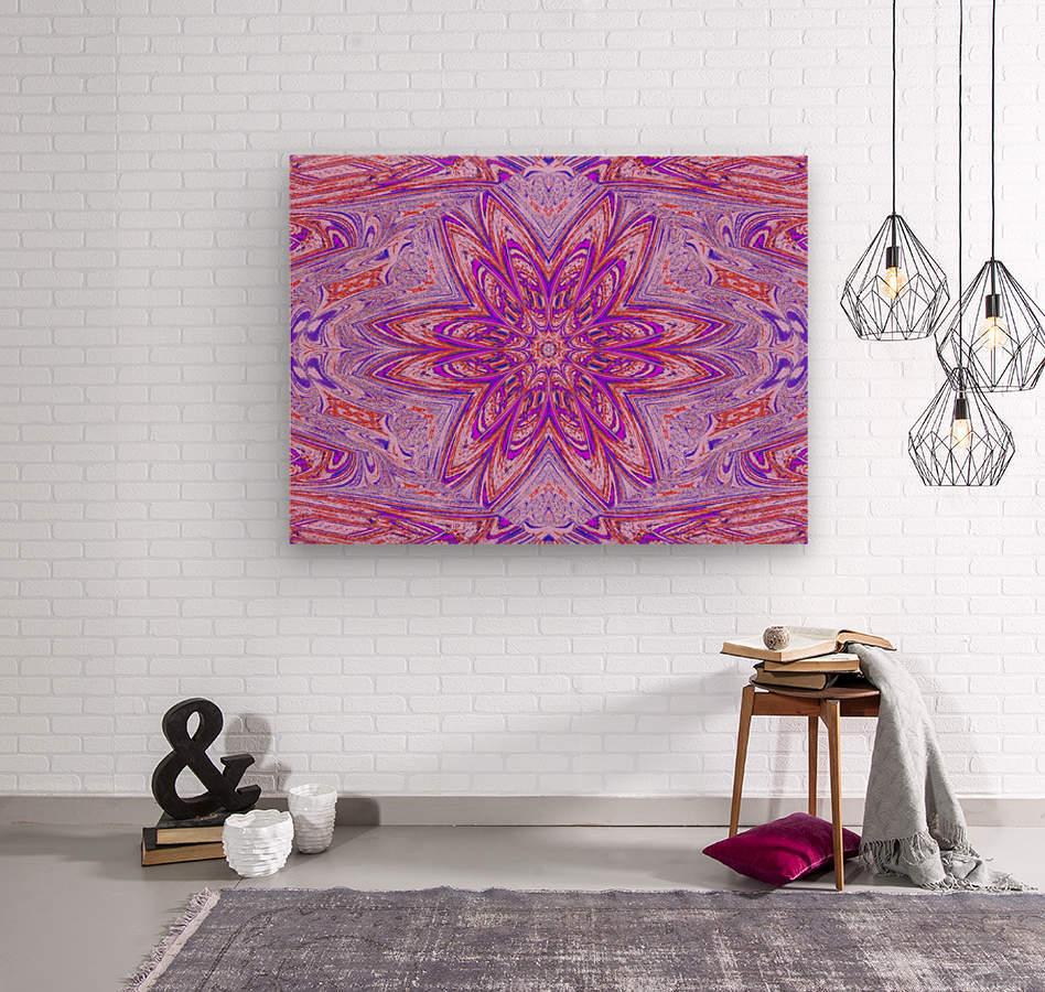 Pink Blue Daisy  Wood print