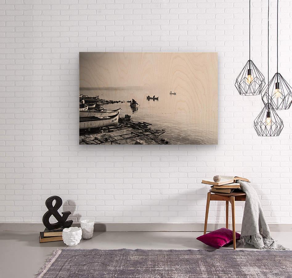 Fishing boats at the foggy port of Balchik  Wood print