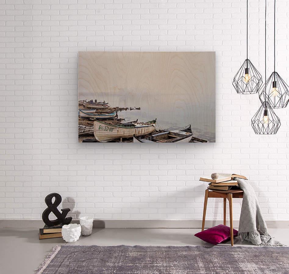 Fishing boats in fog  Wood print
