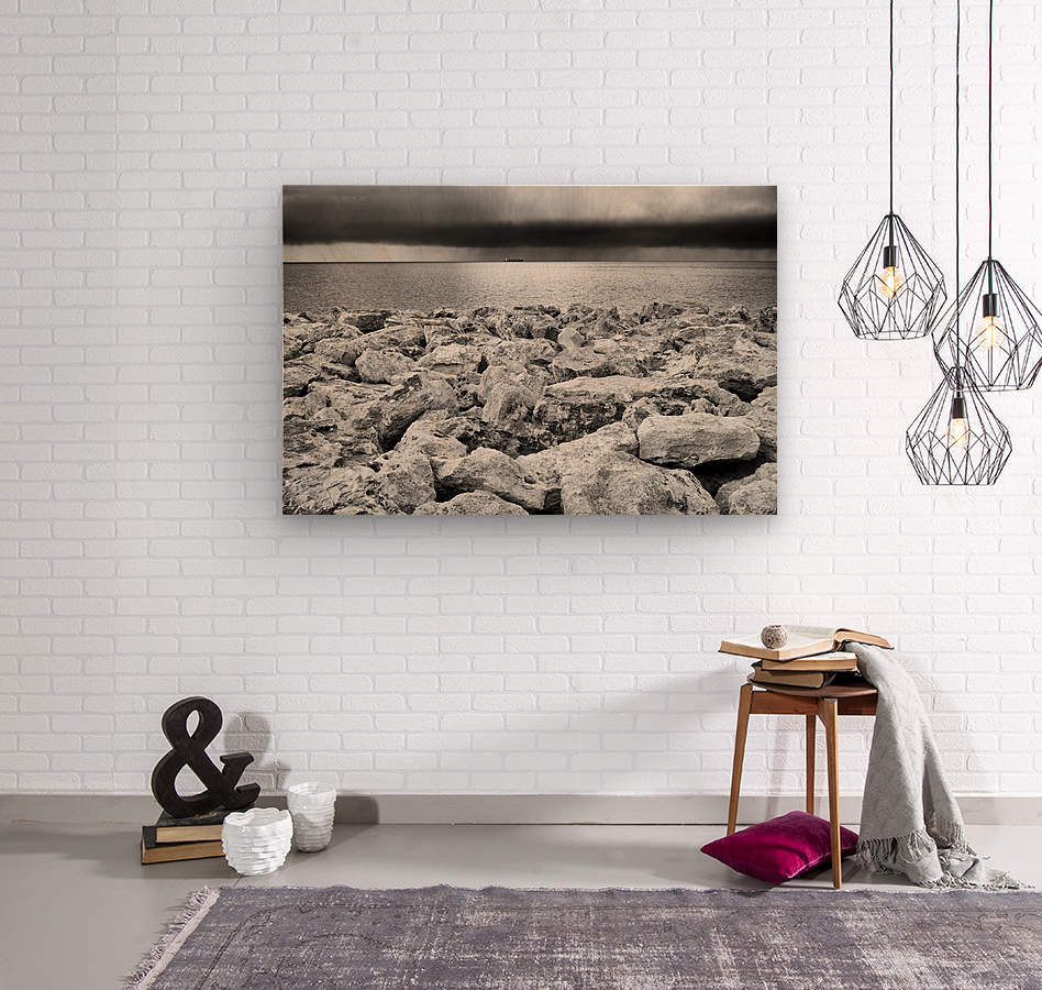 Stormy weather at the beach  Wood print
