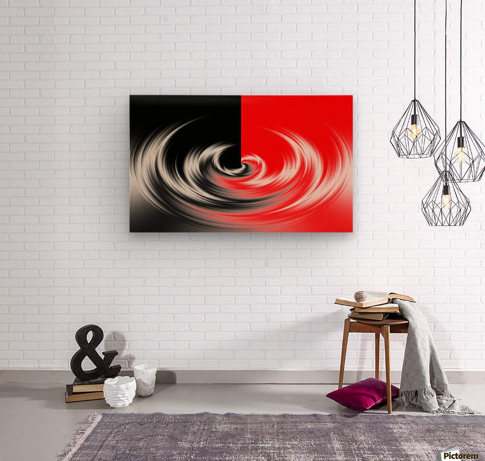 Black White Red Abstraction  Wood print