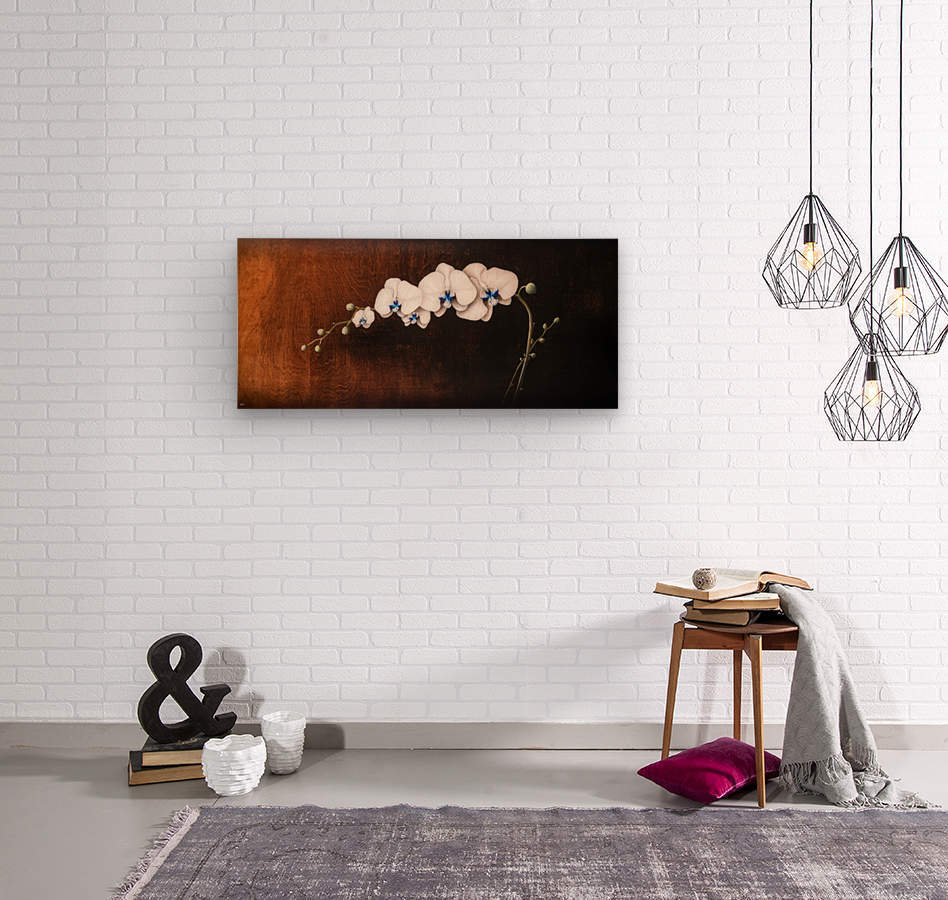 Orchids and Moonlight  Wood print