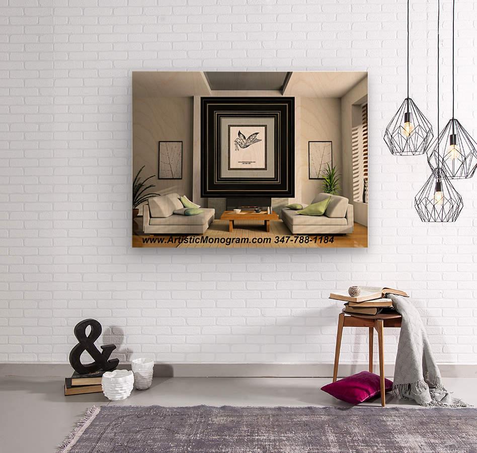 art   monogram   dove  Wood print