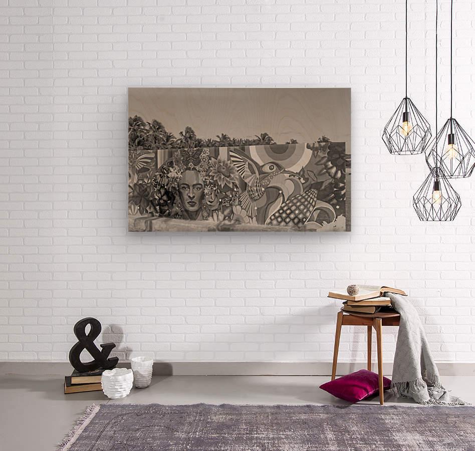 Bursting with Colour B&W  Wood print