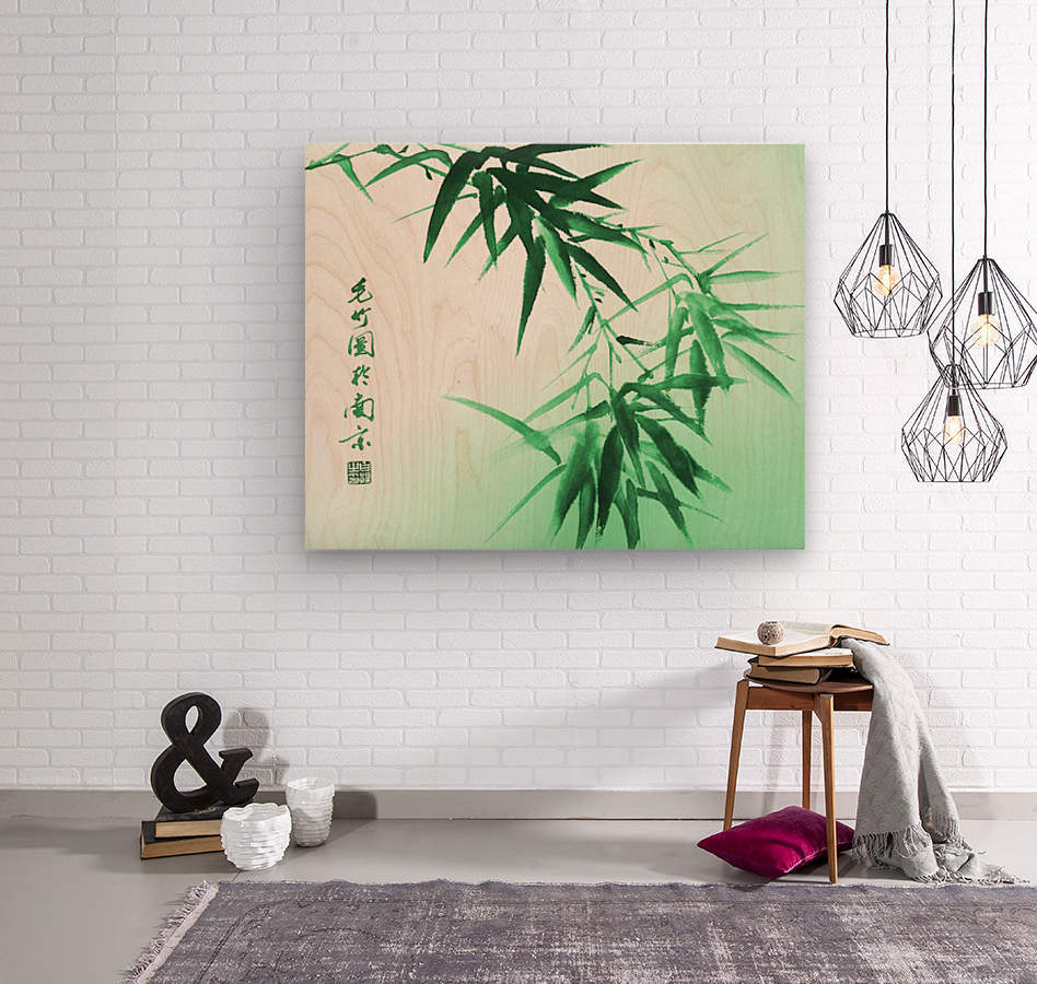 Green Bamboo Twig  Wood print