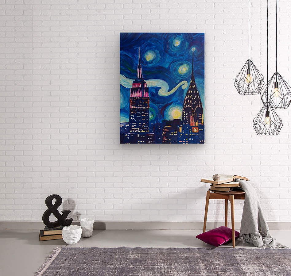 Starry Night in New York Van Gogh Manhattan Chrysler Building and Empire State Building  Wood print