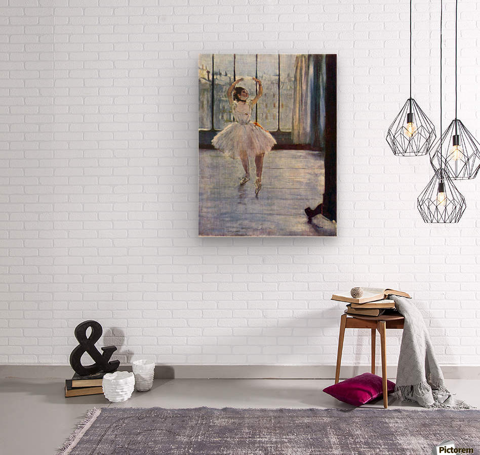 Dancer being photographed by Degas  Wood print