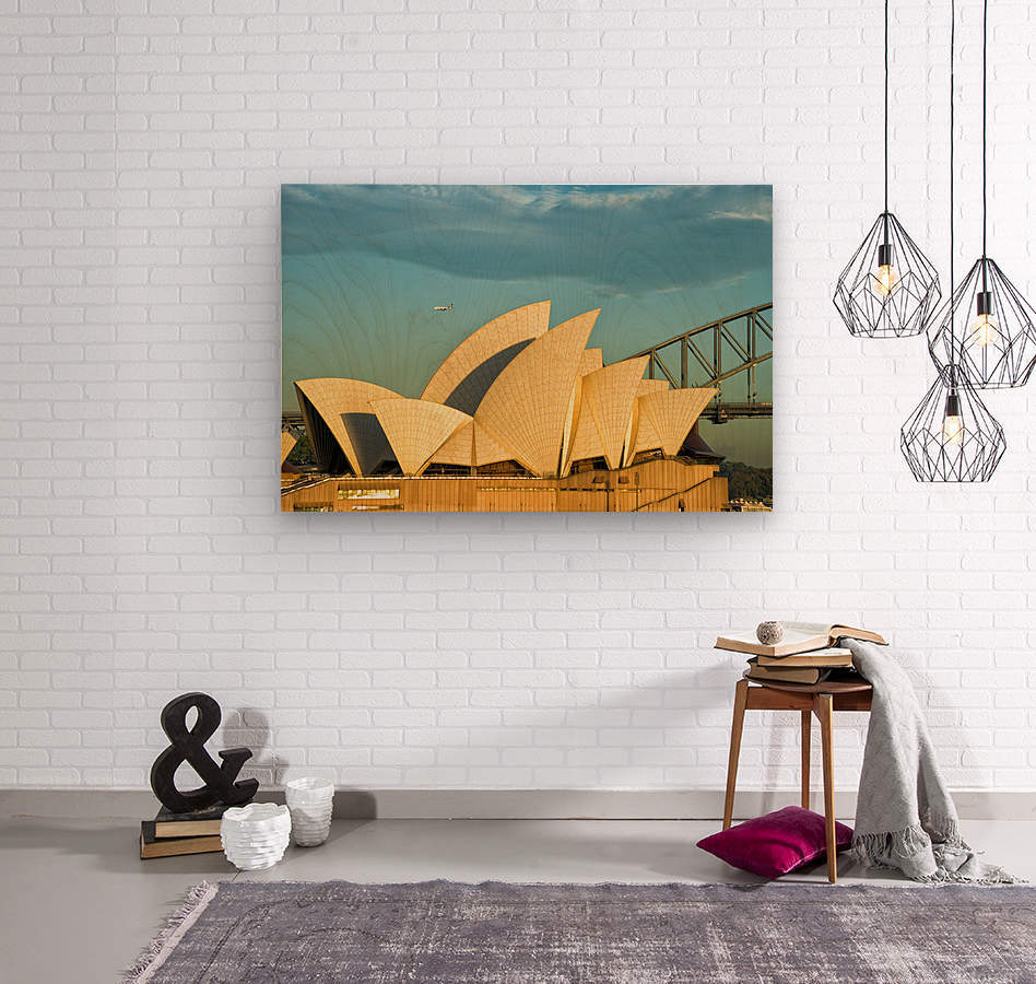 First plane of the morning Sydney Opera House  Wood print
