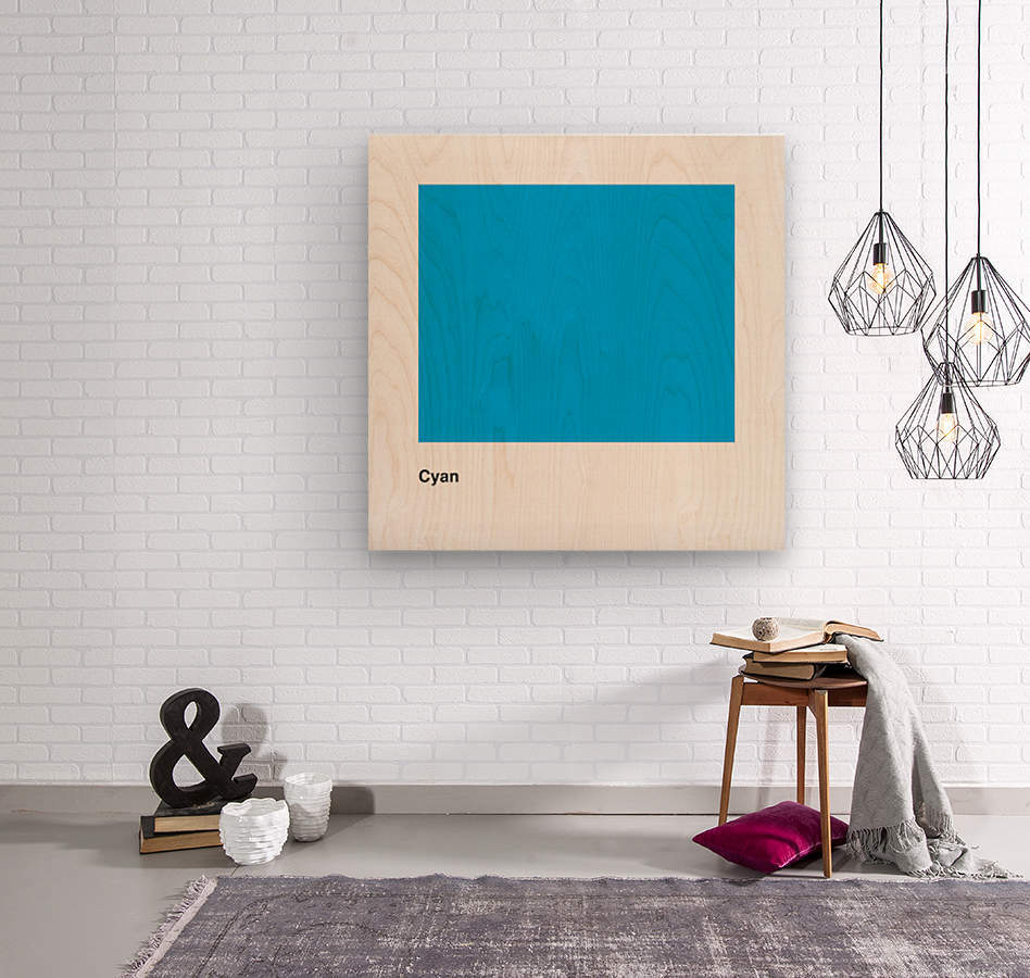 Solid Cyan Process color with word  Wood print