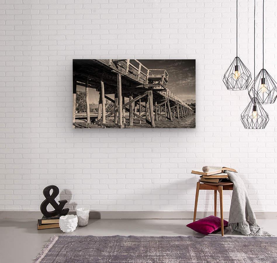 Old disused railway bridge New South Wales australia Mono  Wood print