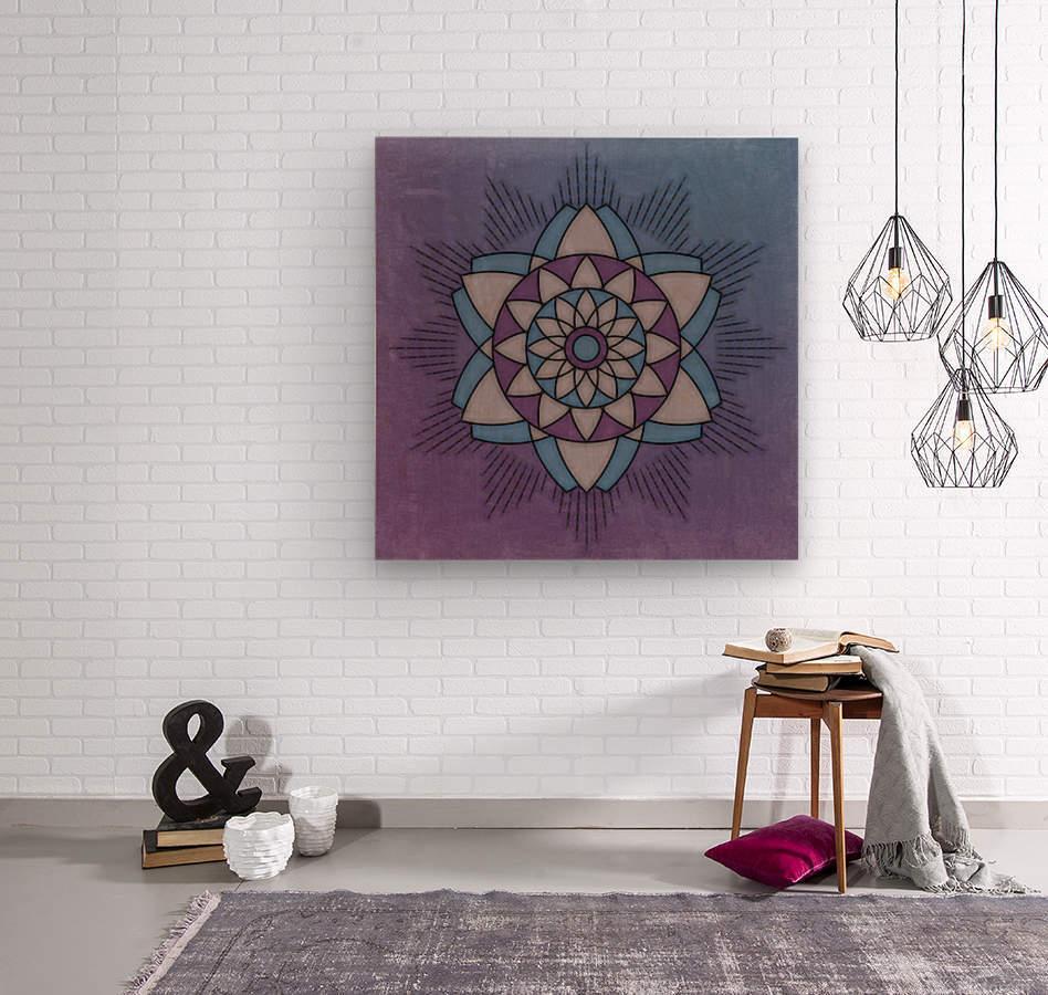 Simple Vintage Glow Mandala Solid  Wood print