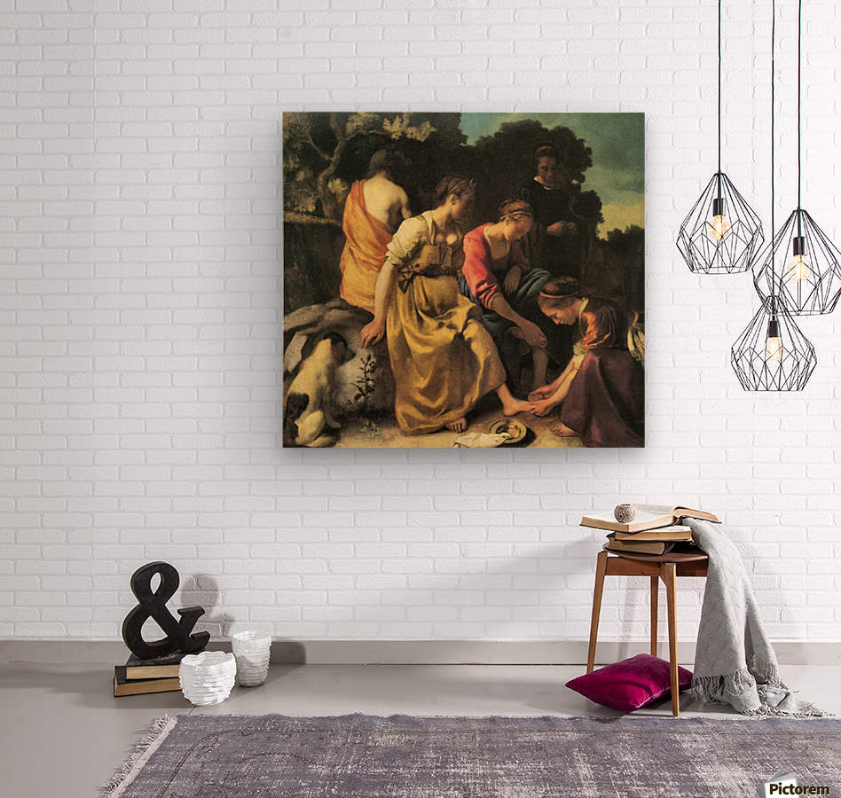 Diana and her nymphs by Vermeer  Wood print