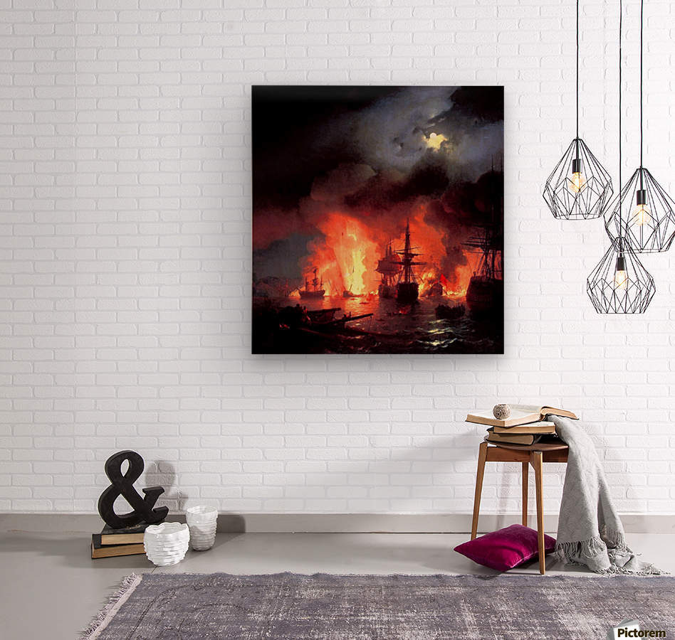 Battle of Cesme at Night  Wood print