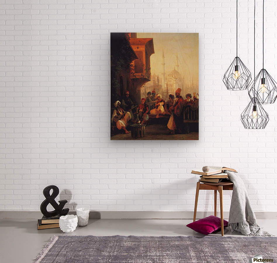 Coffee house by the Ortakoy Mosque in Constantinople  Wood print