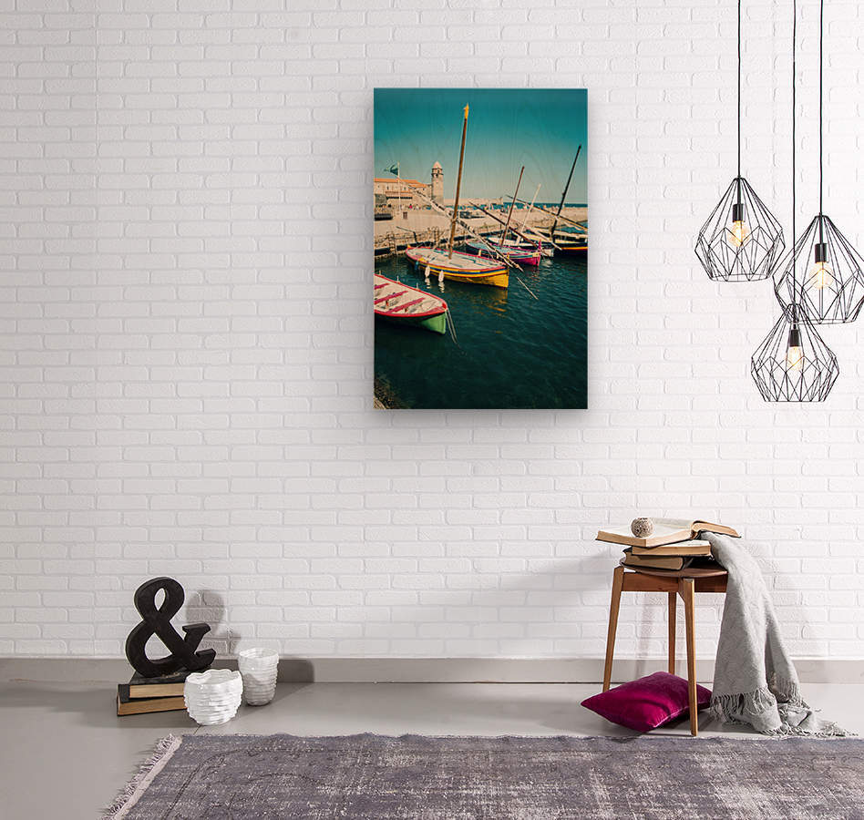 Collioure harbour Anchovy Fishing boats.  Wood print