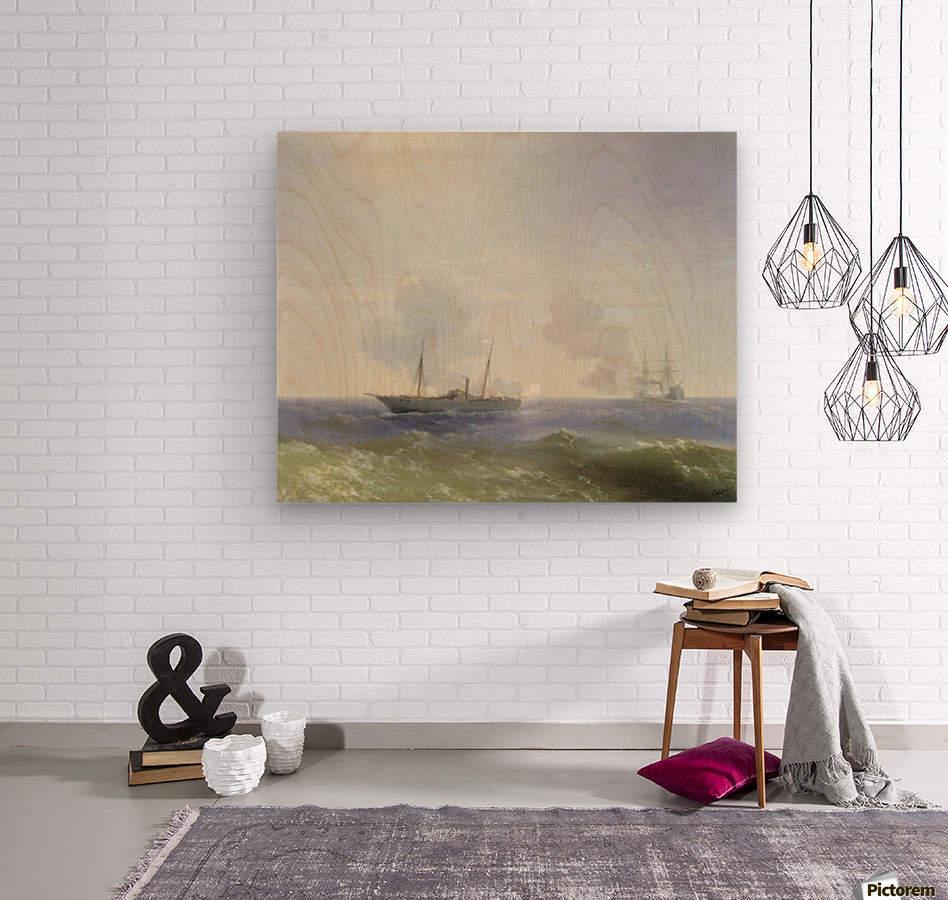 Battle of steamship Vesta and Turkish ironclad  Wood print
