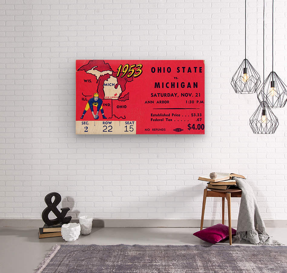 1953_College_Football_Ohio State vs. Michigan_Michigan Stadium_Ann Arbor_Row One  Wood print
