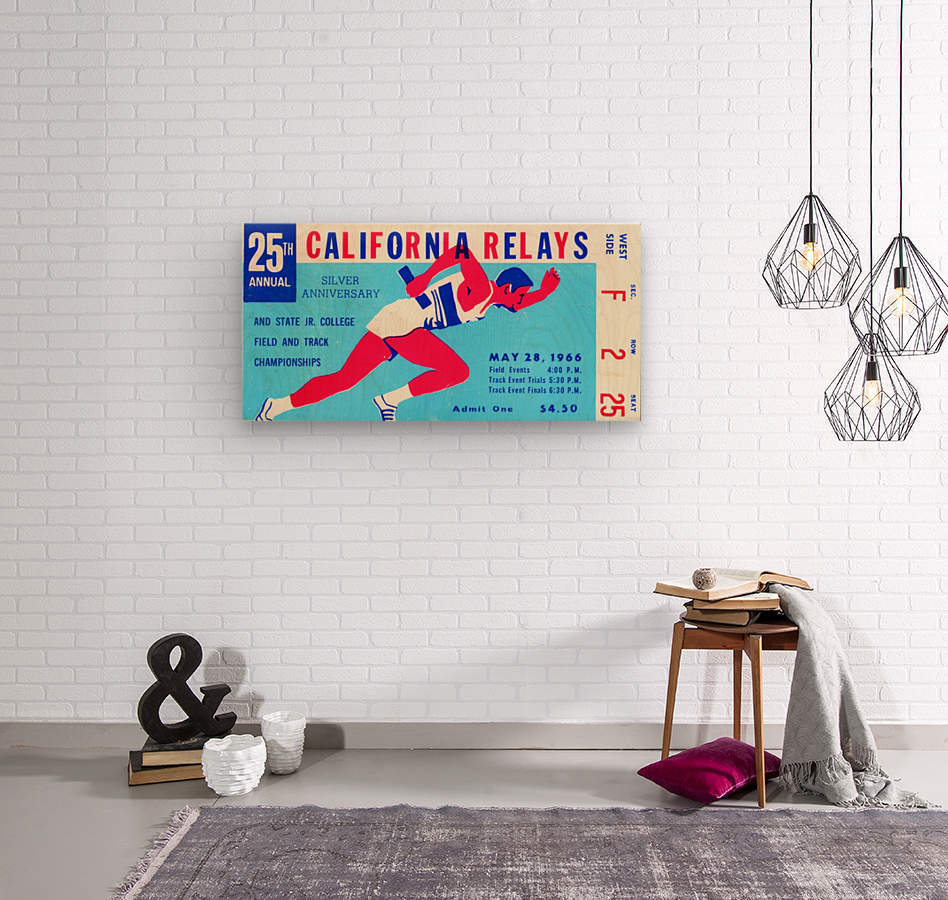 1966_Track and Field_California Relays_Row One Brand  Wood print