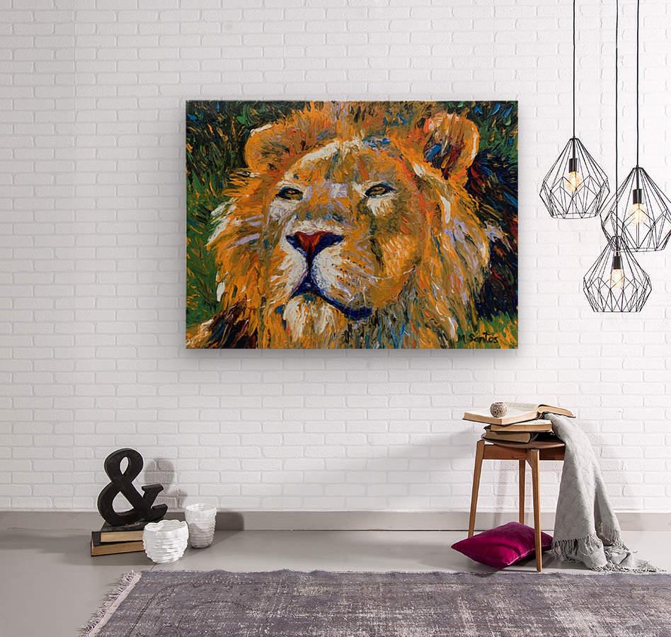 Lion Closeup  Wood print