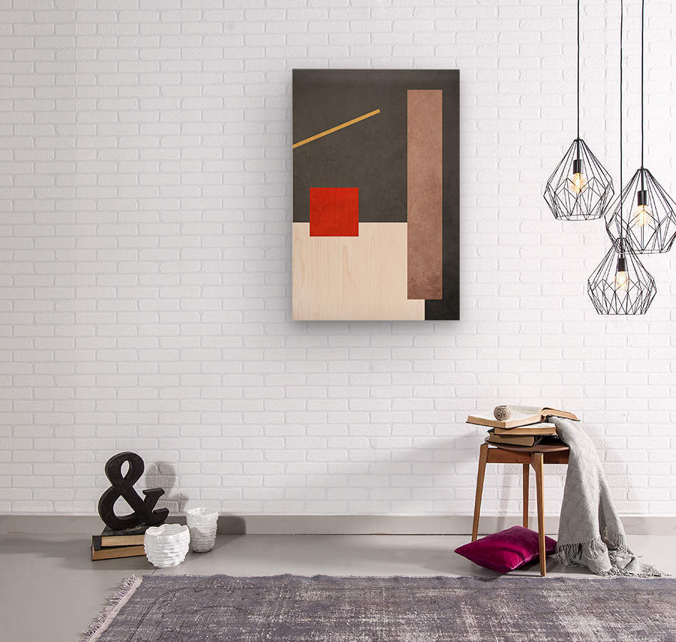 Textured Shapes 03 - Abstract Geometric Art Print  Wood print