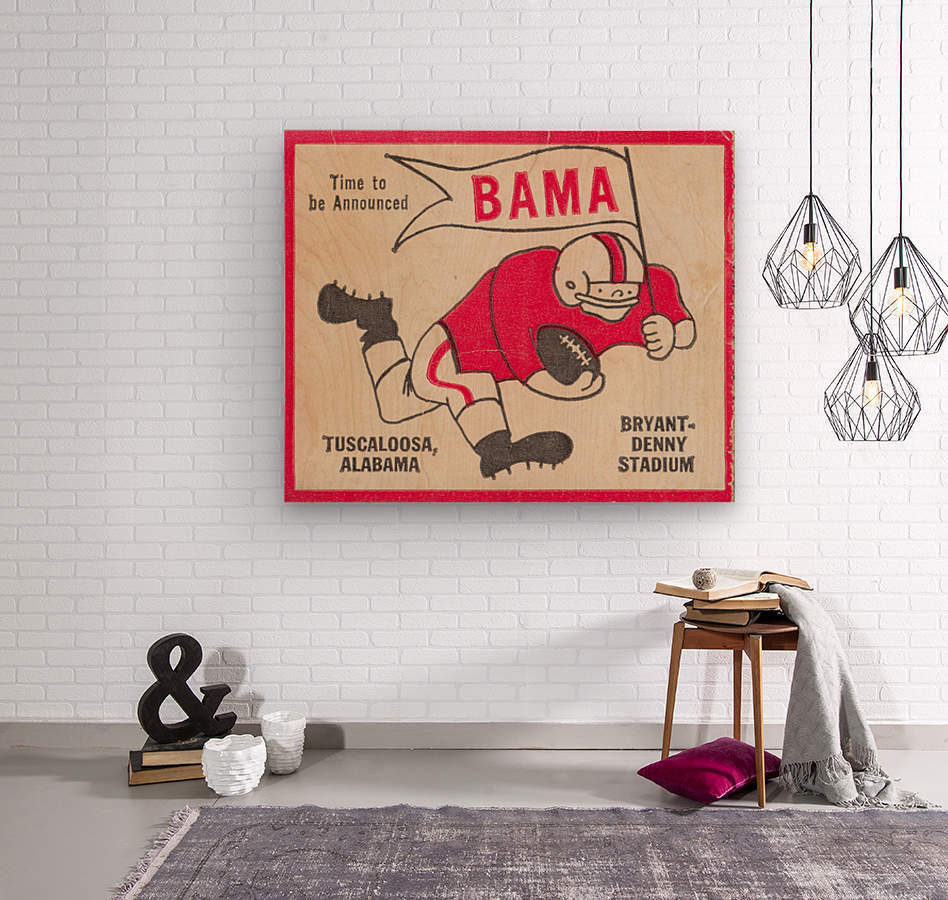 1980 Bama Football Player Flag Art_Tuscaloosa Alabama_Bryant Denny Stadium_Ticket Stub Art Creations  Wood print