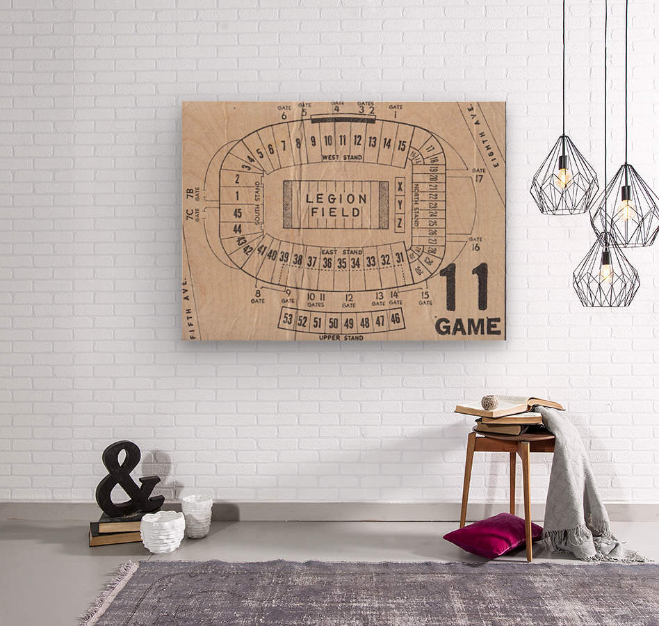 Legion Field Stadium Map Art_Vintage College Football Map Art  Wood print