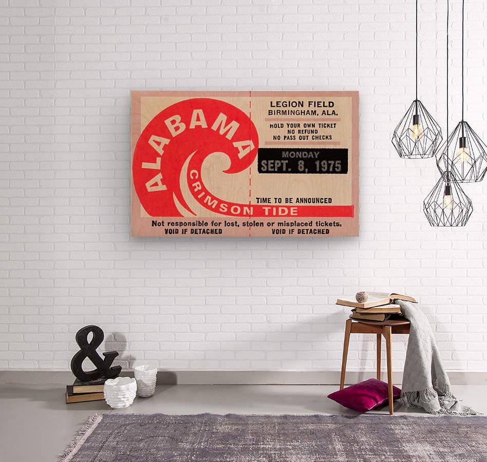 1975 University of Alabama Crimson Tide Football Ticket Stub Art Poster  Wood print