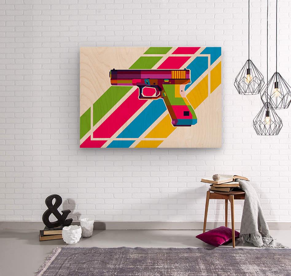 Glock Handgun  Wood print