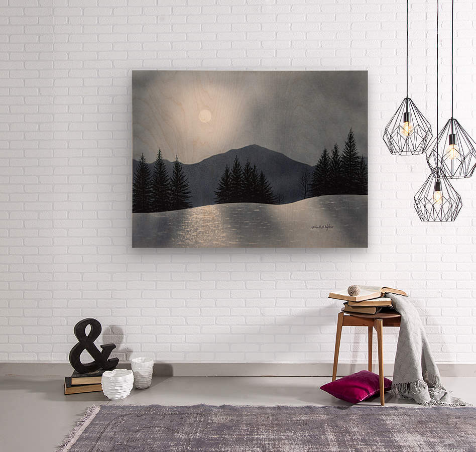 Mountain Moon  Wood print