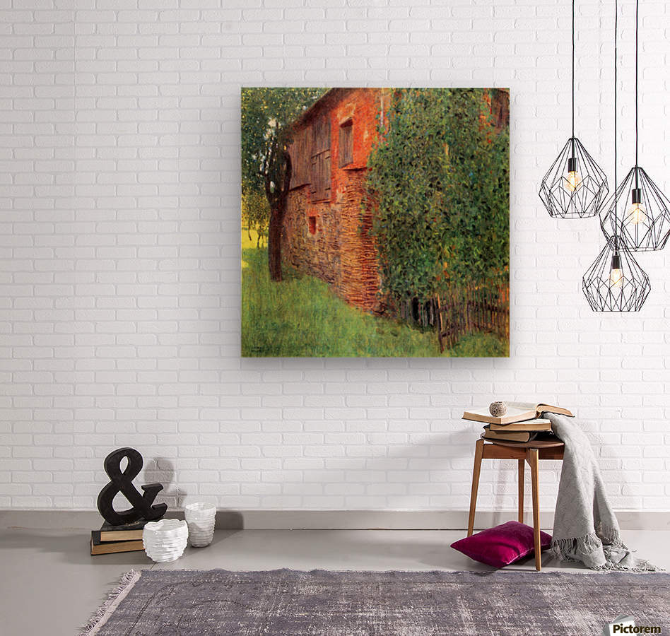 Farmhouse in Chamber in Attersee by Klimt  Wood print