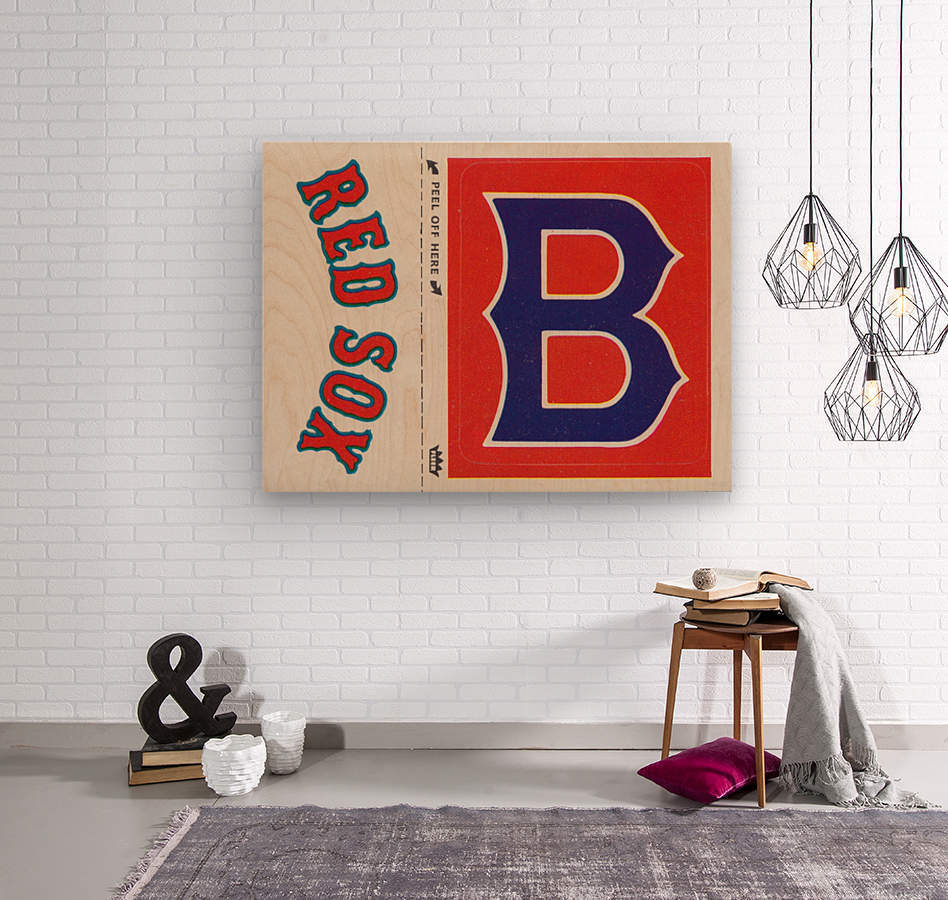 1978 Boston Red Sox Fleer Decal Reproduction 1200 DPI Scan Art by Row One™  Wood print