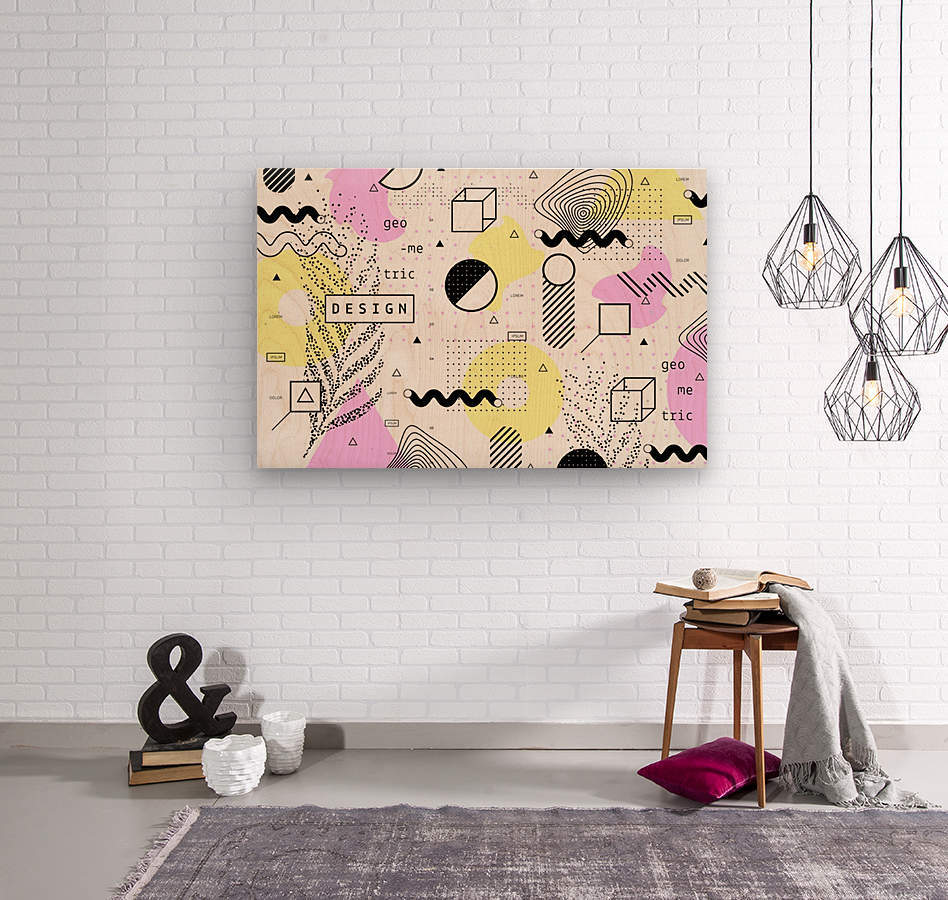 graphic design geometric background  Wood print