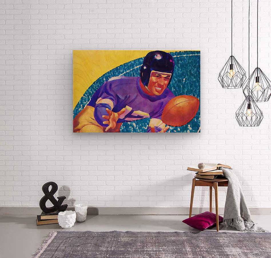 Football Art Watercolor Sports Art  Wood print
