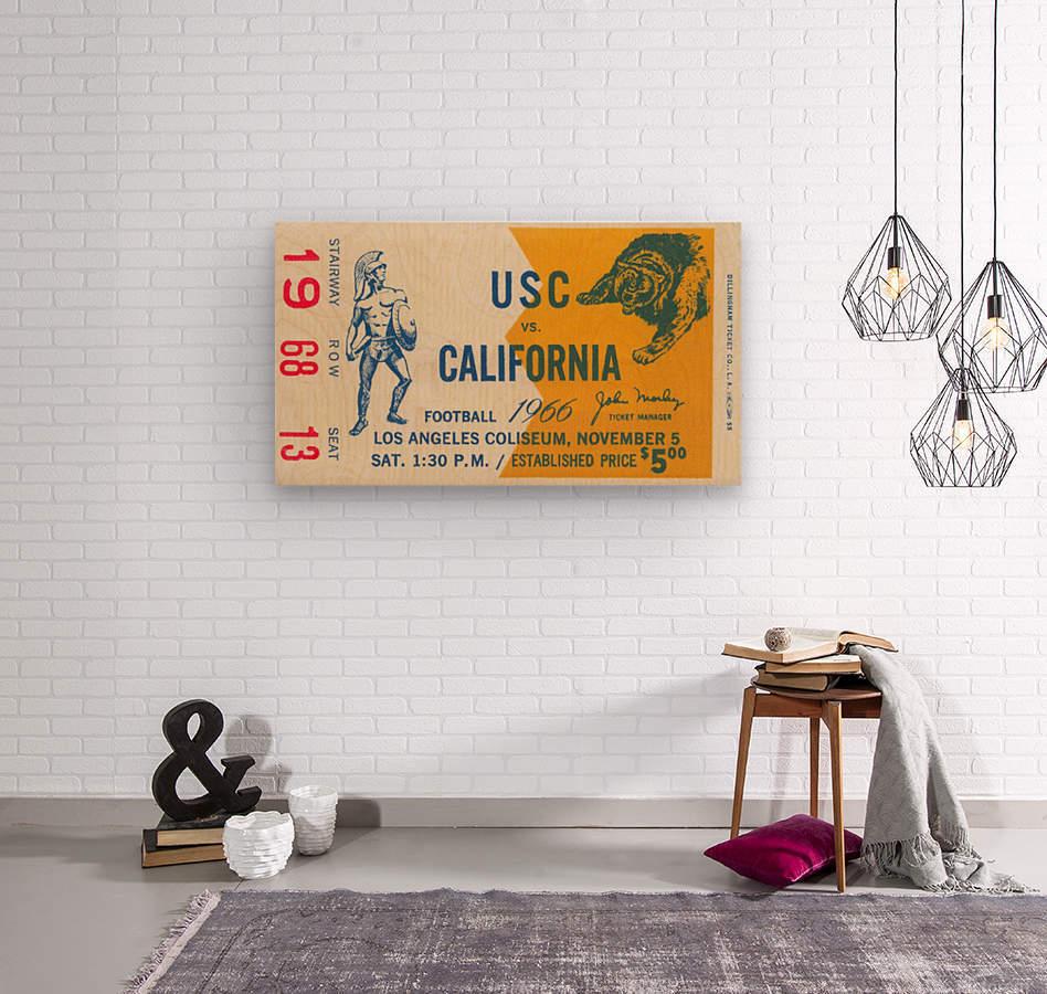 College Football Ticket Stub Collection_1966 USC vs. California Football Ticket Art Row One Brand (1)  Wood print