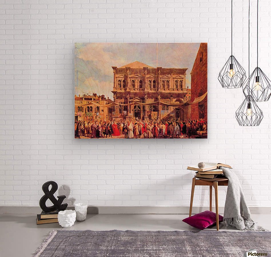 Festival in San Rocco by Canaletto  Wood print