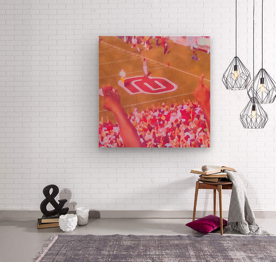 Oklahoma Football Art Owen Field OU Sooners Touchdown Art_Watercolor Style Retro 1980s Sports Art  Wood print