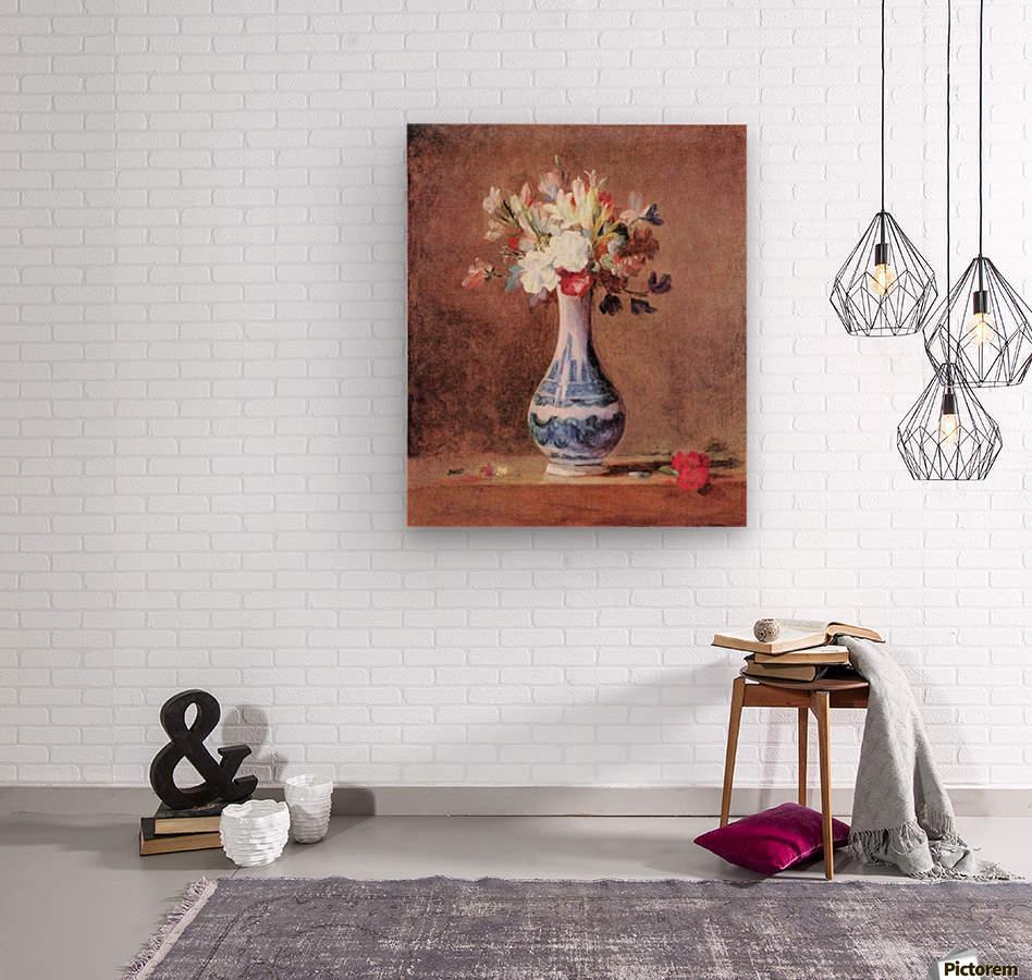 Flowers in a Vase by Jean Chardin  Wood print