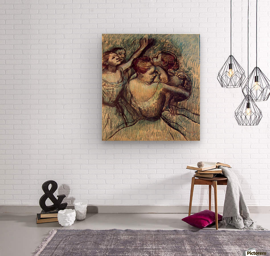 Four dancers in half figure by Degas  Wood print