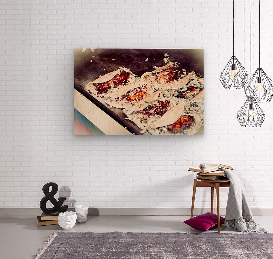 Street Okonomiyaki  Wood print