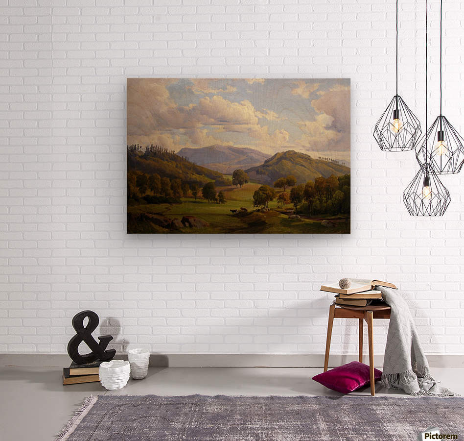 Blick auf den Felsberg im Odenwald  Wood print