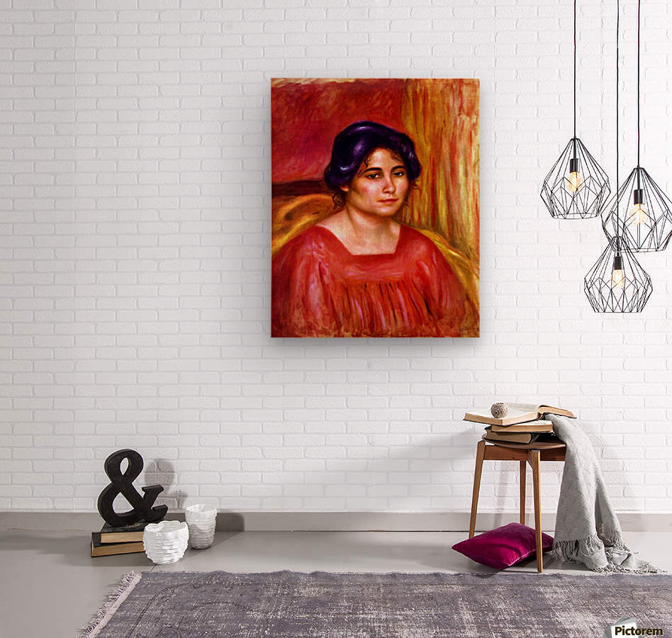 Gabrielle with red blouse by Renoir  Wood print