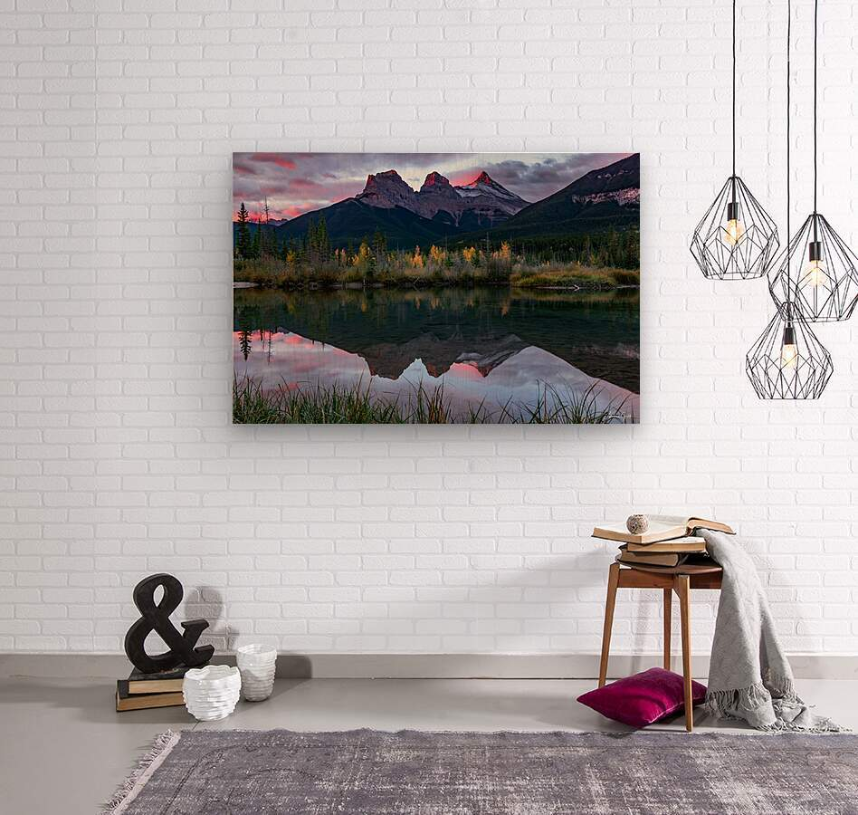Three Sisters Fall Sunrise Canmore  Wood print