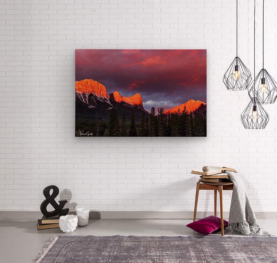 Ha Ling Mountain Range Sunrise  Wood print