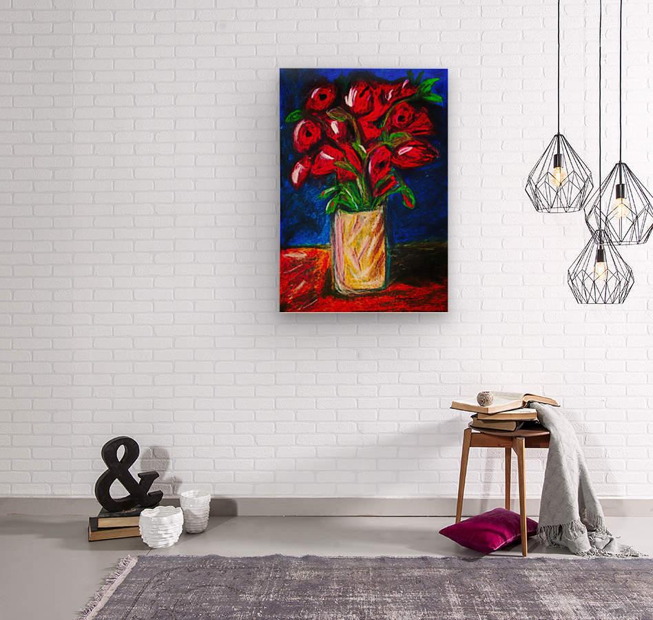 Red Cala Lilies  Wood print