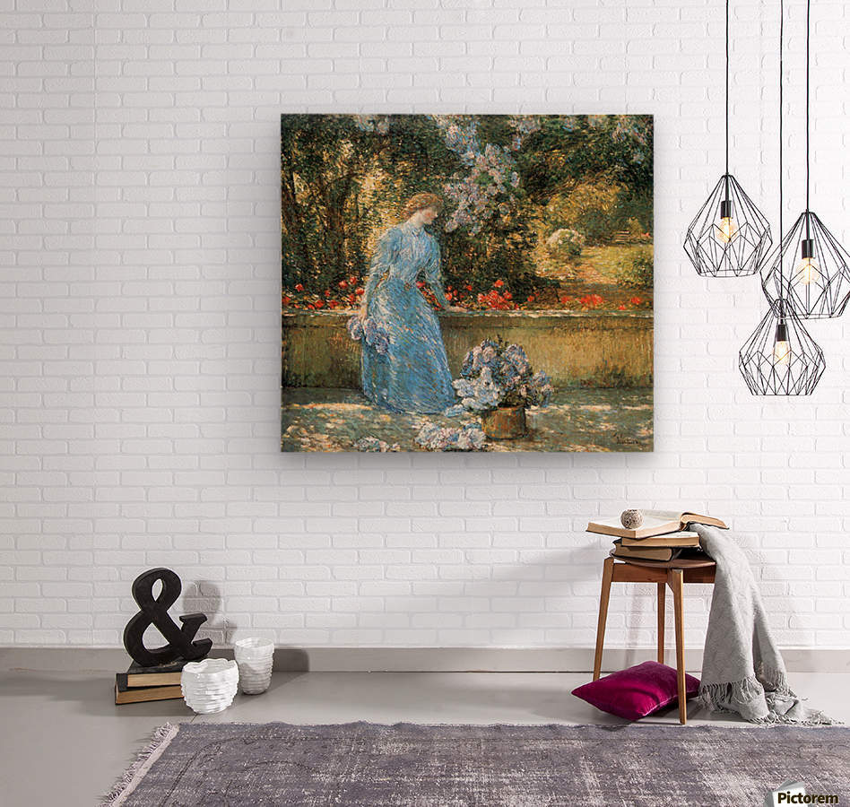 Woman in park by Hassam  Wood print