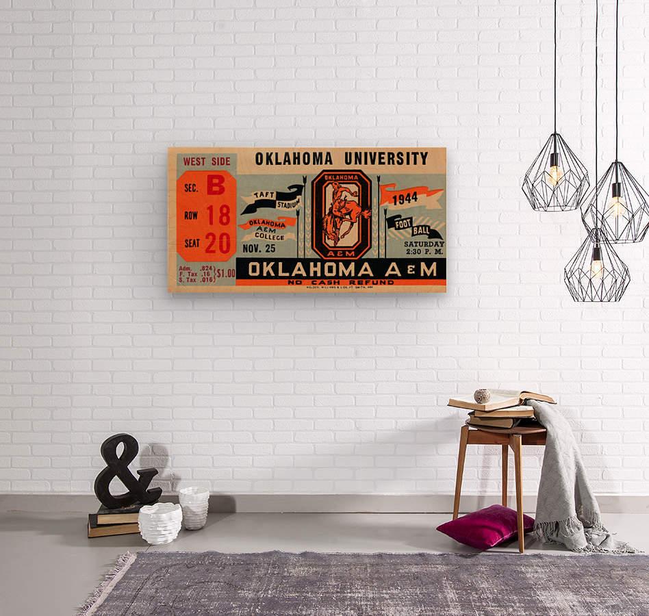1944 oklahoma sooners osu cowboys ticket stub metal sign college football tickets wood prints art r1  Wood print